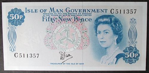 Isle of Man P33a 50 New Pence UNC62