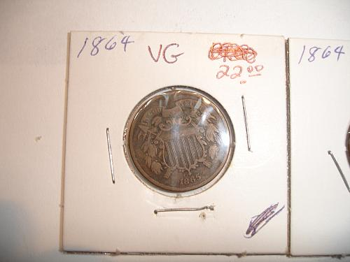 1864 1865  Two 2 Cent Coin Penny Pieces 4 Four Coins Collection Lot #2 Bulk VG
