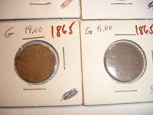 1864 1865  Two 2 Cent Coin Penny Pieces 8 Eight Coins Collection Lot #4 Bulk G