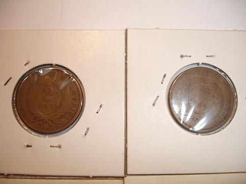 1864 1865 1866 Two 2 Cent Coin Penny Pieces 8 Eight Coins Collection Lot #5 Bulk