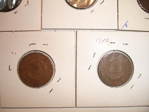 1864 1865  Two 2 Cent Coin Penny Pieces x11 Eleven Coins Collection Lot #6 Bulk