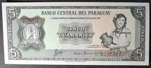 Paraguay P195b 5 Guaranies UNC64