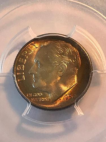 1950-S 10C PCGS MS67+(Plus) Silver Dime w / Gold-Amber Toning
