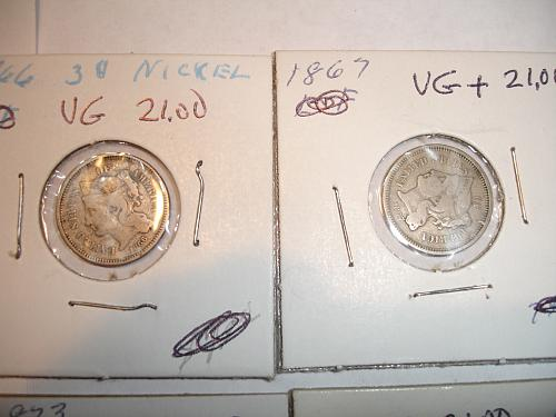 1865 to 1874 Three Cent Nickel Nickels Coin x8 Eight Coins Collection Lot #2