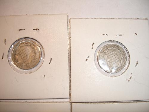 1865 to 1873 Three Cent Nickel Nickels Coin x8 Eight Coins Collection Lot #3
