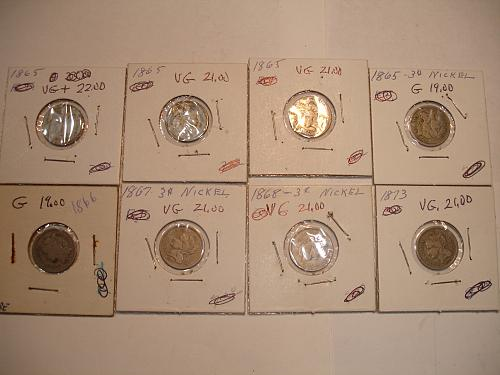 1865 to 1873 Three Cent Nickel Nickels Coin x8 Eight Coins Collection Lot #4