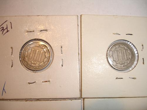 1865 to 1873 Three Cent Nickel Nickels Coin x8 Eight Coins Collection Lot #5