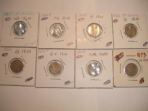 1865 to 1873 Three Cent Nickel Nickels Coin x8 Eight Coins Collection Lot #6