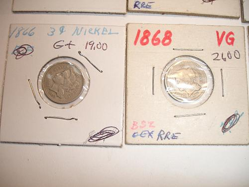 1865 to 1873 Three Cent Nickel Nickels Coin x8 Eight Coins Collection Lot #7