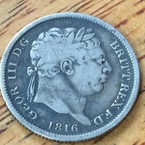 1816 George 111  Six Pense Silver