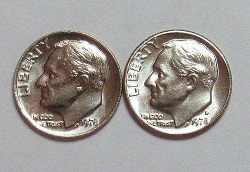 1978 P&D Roosevelt Dimes in BU condition