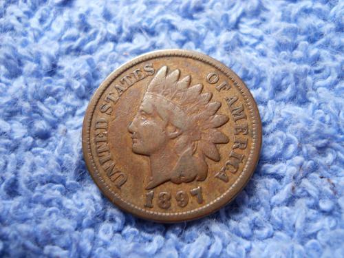 1897 Indian Head Cent Fine Grade Original Surfaces