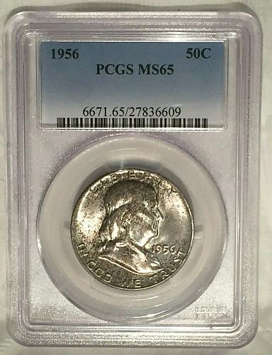 1956-P 50C PCGS MS65 Franklin Silver Half Dollar