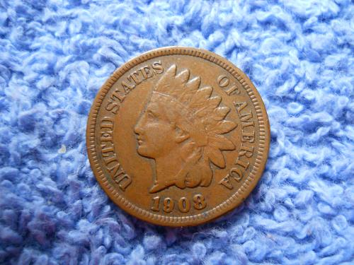 1908 Indian Head Cent Fine-15 Grade.  Original Uncleaned Surfaces.