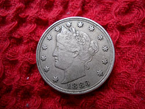 """1883 Liberty Nickel With """"No Cents"""" Reverse.  Sharp Extremely Fine 45 Grade"""