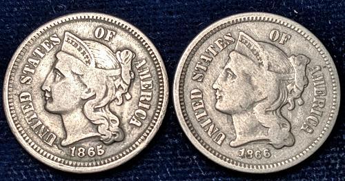VF 1865, & VG 1866 THREE CENT NICKELS