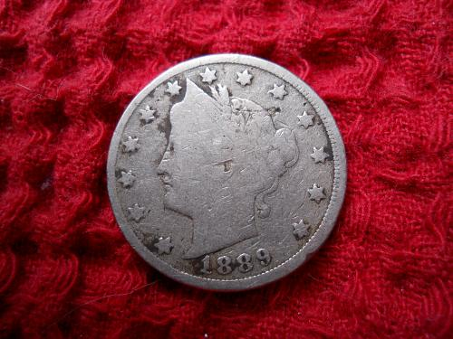 1889 Liberty Nickel Good-4 Grade.  Original uncleaned surfaces.