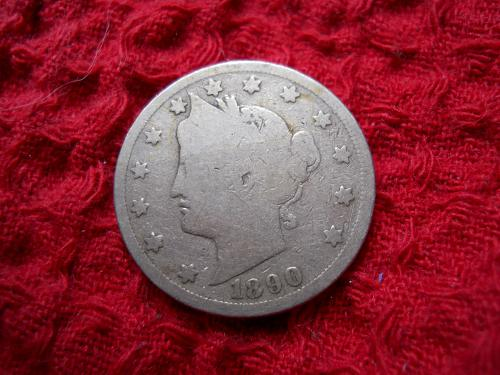 1890 Liberty Nickel Good-4 Grade.  Original Uncleaned Surfaces.