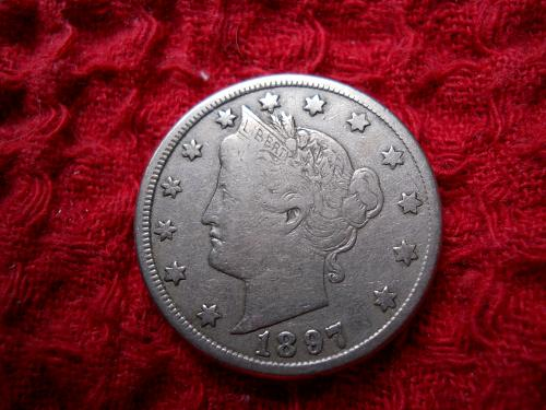 1897 Liberty Nickel Fine-15 Grade.  Original Uncleaned Surfaces.
