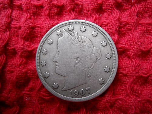 1907 Liberty Nickel.  Very Fine Grade.  Original Uncleaned Surfaces.