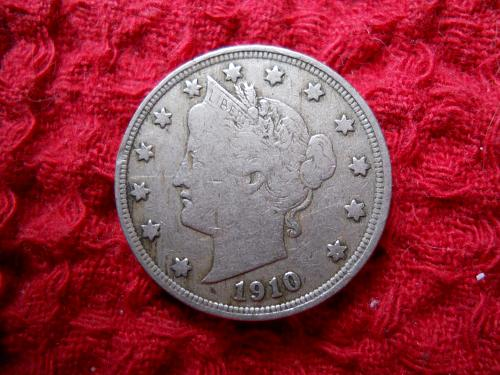 1910 Liberty Nickel.  Very Fine Grade.  Original Uncleaned Surfaces.