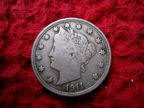 1911 Liberty Nickel.  Fine Grade.  Original Uncleaned Surfaces.