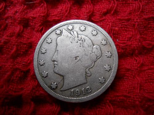 1912-D Liberty Nickel.  Fine Grade.  Original Uncleaned Surfaces.