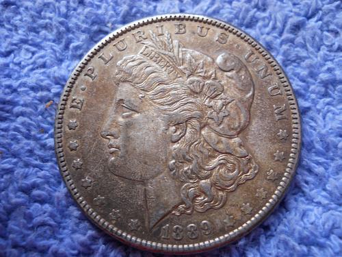 1889 (P) Morgan Silver Dollar.  AU-55 Grade.  Original Uncleaned Surfaces.