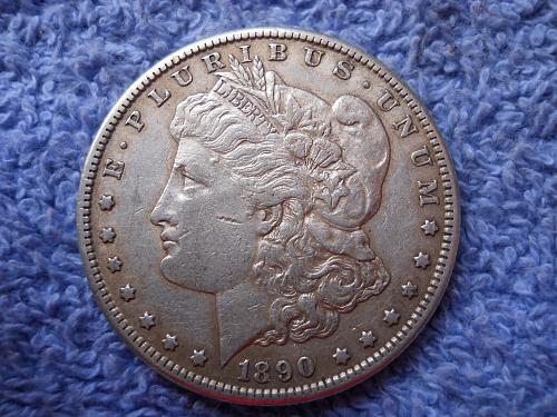 1890-S Morgan Silver Dollar.  About Uncirculated-50. Original Uncleaned Surfaces
