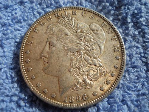 1896(P) Morgan Silver Dollar. About Uncirculated-55. Original Uncleaned Surfaces