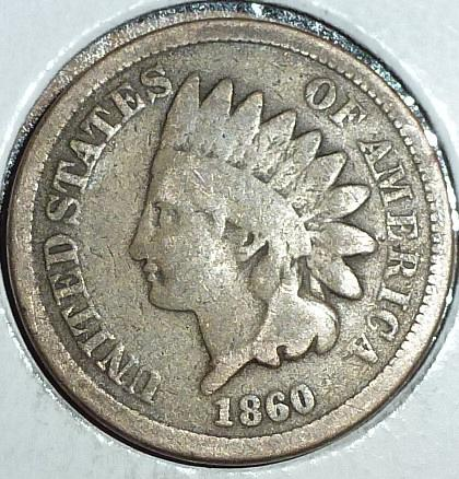 1860 Indian Cent Grades VERY GOOD ( 2019 )
