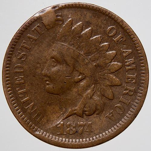 1874 P INDIAN HEAD Cent #21