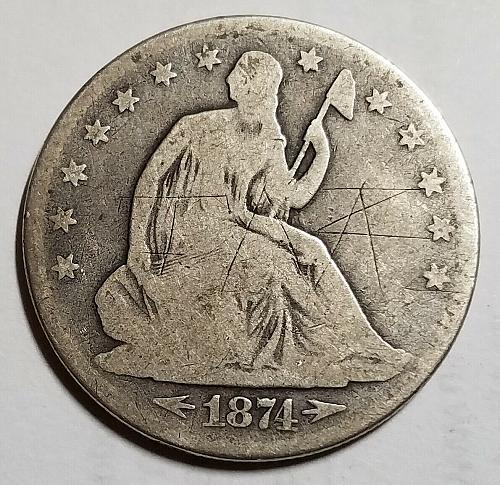 1874 Seated Liberty Half Dollar sh4