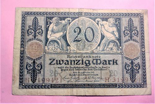 1915 GERMAN 20 MARK NOTE
