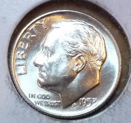 GEM BU MS Quality 1953-D Roosevelt Silver Dime. High Quality (3163 )