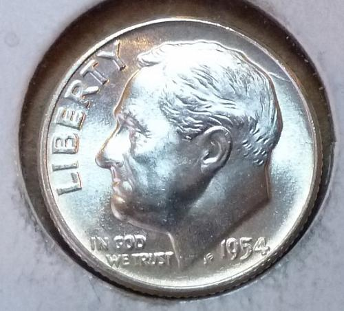 GEM BU MS Quality 1954-P Roosevelt Silver Dime. High Quality (3165 )