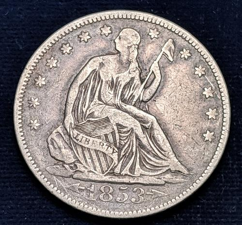 1853 ARROWS AND RAYS FINE SEATED LIBERTY HALF DOLLAR