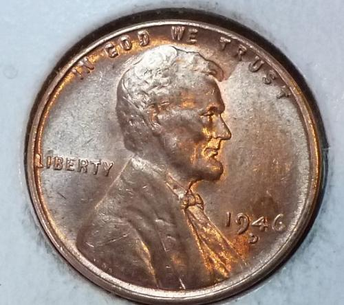 1946 D GEM BU RED Lincoln Wheat Cent. ( 324 )