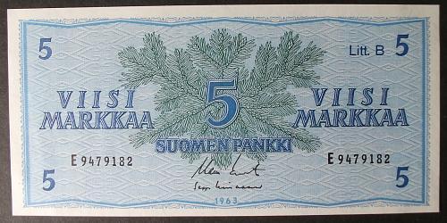Finland P106Aa 5 Markkaa UNC64