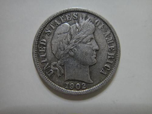 1902 Barber Dime Extra Fine-40 Nice Original Coin With Light Tone on Reverse!