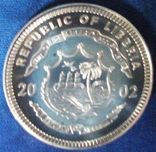 2002 Liberia 10 Dollars Proof Football Hologram