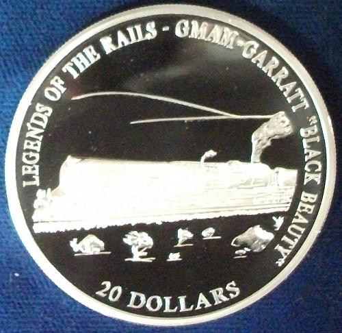 "2001 Liberia 20 Dollars Silver Proof GMAM GARRATT ""Black Beauty"""