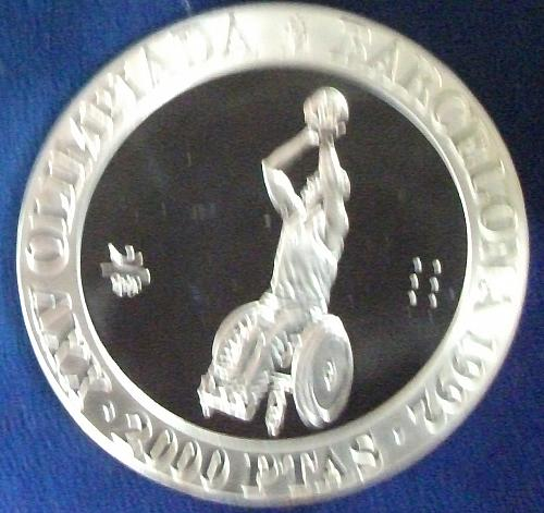 1992 Spain 2000 Pesetas Silver BU Wheelchair Basketball