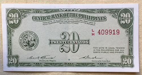 TWENTY CENTAVOS Banknote CENTRAL BANK OF THE PHILIPPINES, 1949