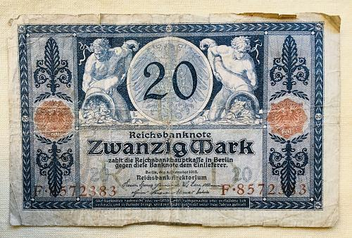 20 German Mark Reichsbanknote ZwansigMark, 1915