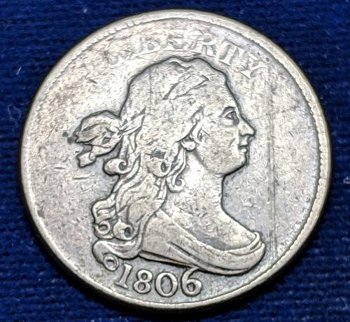 1806 LARGE 6 HALF CENT  WITH STEMS AND A SCRATCH ON OBVERSE