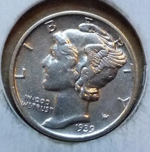1939-P ABOUT UNCIRCULATED Mercury Dime   ( 623)