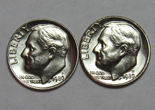 1980 P&D Roosevelt Dimes in BU condition