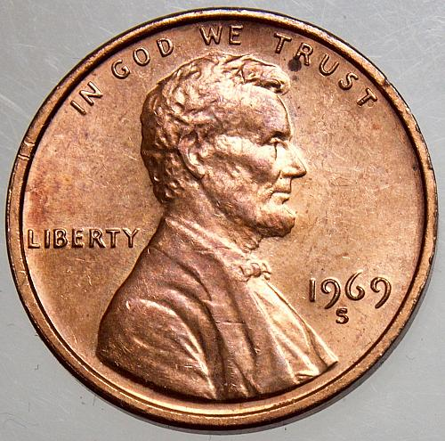 1969 S Lincoln Memorial Cent#1 DOUBLE STRUCK