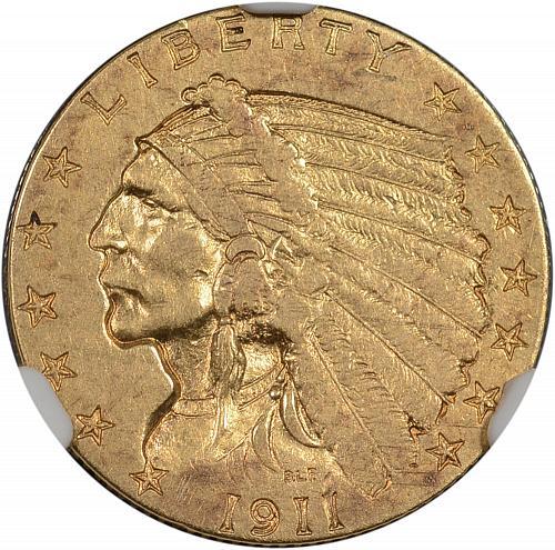 1911-D Weak D $2.50 Gold Indian Quarter Eagle NGC XF Details - ToughCOINS
